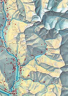 Map with coloured relief (Canton of Grisons)