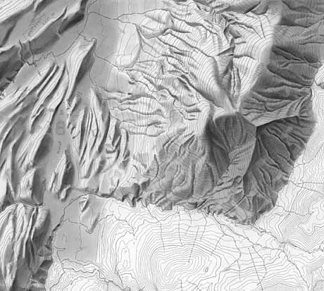 Unfinished shaded relief